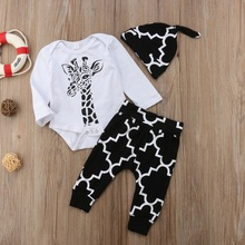 New Spring Autumn Newborn Baby Lovely Giraffe Printing Long Sleeve Rompers And Trousers Hat Kit Kids Three-piece Outfit Set