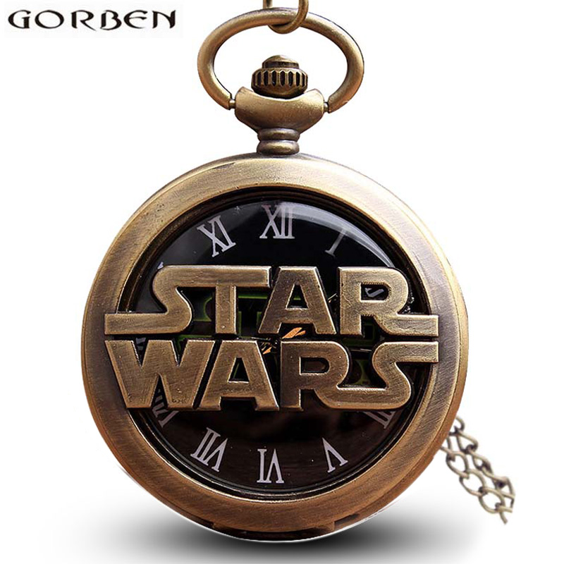 Retro Bronze Star Wars Hollow Pocket Pocket Watch Naszyjnik Vintage Fob Pendant Clock z łańcuszkiem Marvel Movie Men Children 'Gift