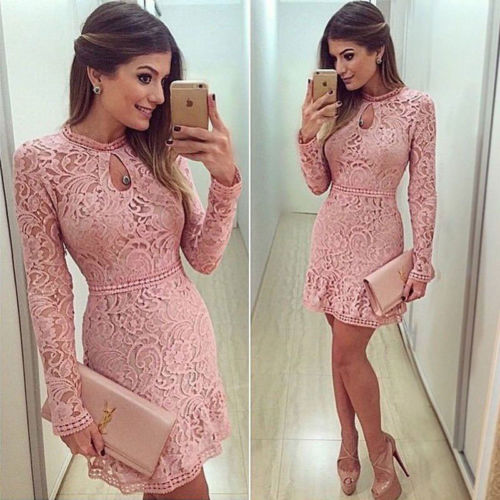 Fashion Women Ladies Summer Lace Long Sleeve Party
