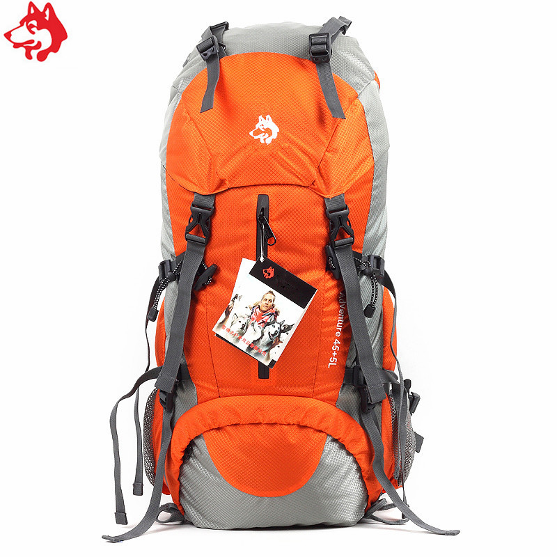 50L Blue/Orange/Green/red men's hiking backpack with rain cover big capacity outdoor mountaineering climbing bag