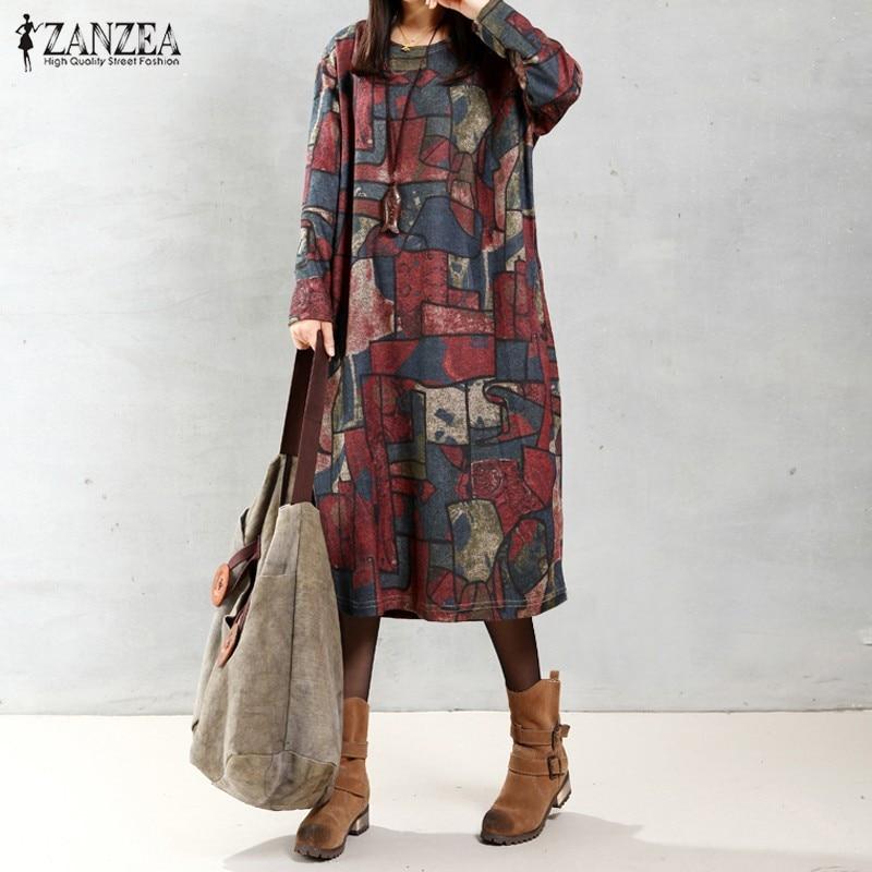 ZANZEA Wanita 2018 Musim Gugur Vintage Mid-calf Panjang Gaun Kasual Longgar Lengan Panjang O Leher Dicetak Dresses Pernikahan & Kebesaran
