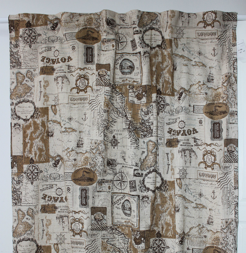 Vezo Home New Printed Nautical Map Linen Finished Window
