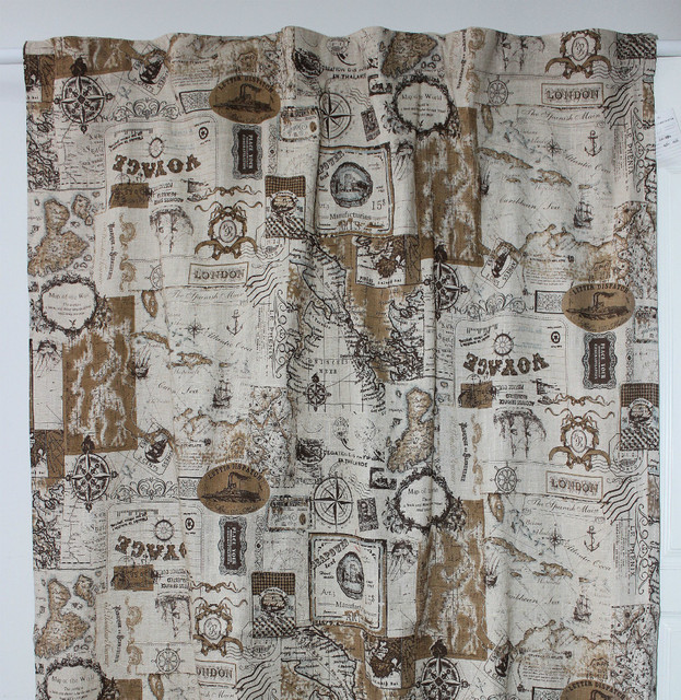 Vezo Home New Printed Nautical Map Linen Finished Window Curtains Panel Ready Door Living