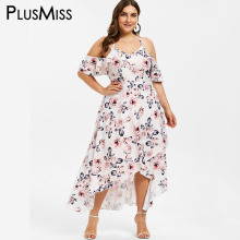 PlusMiss Plus Size 5XL Cold Shoulder Floral Printed Maxi Long Dress Women XXXXL XXXL Big Size Ruffle Beach Boho Tropical Dresses plus cold shoulder ruffle denim dress