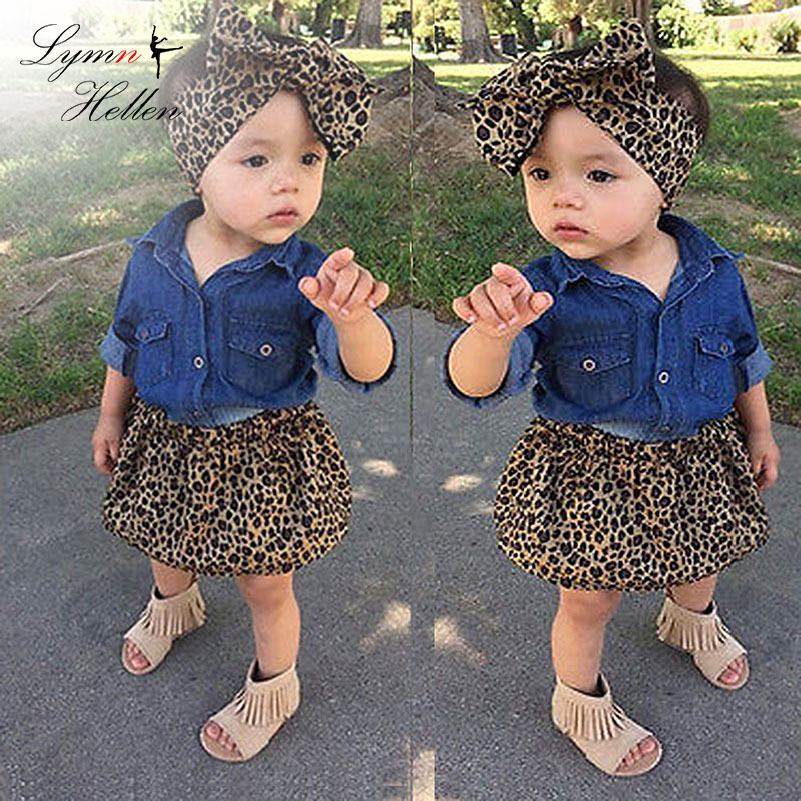 Baby Girls Clothes Set Fashion Clothing Toddler Three-piece Denim Shirt Leopard Pants Bowknot Headband 0-6 Years Play Mats