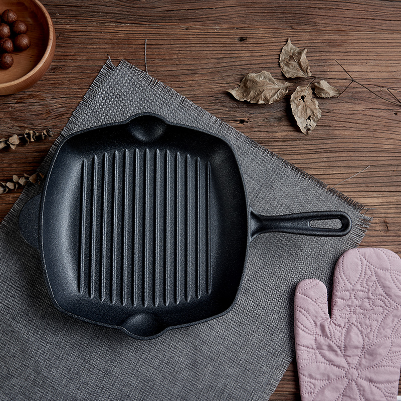 Specialty cast iron steak pan frying pan frying steak uncoated non stick cooker household electromagnetic furnace fryer pot