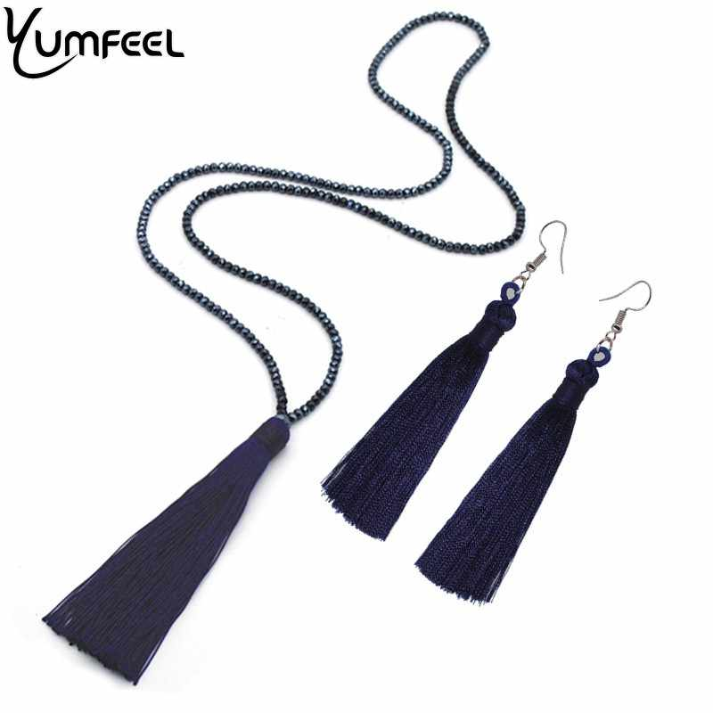 Yumfeel New Tassel Necklaces Earrings Jewelry Set Long Faceted Glass Beads Crystal Necklace Tassel Earrings Set Women Gifts