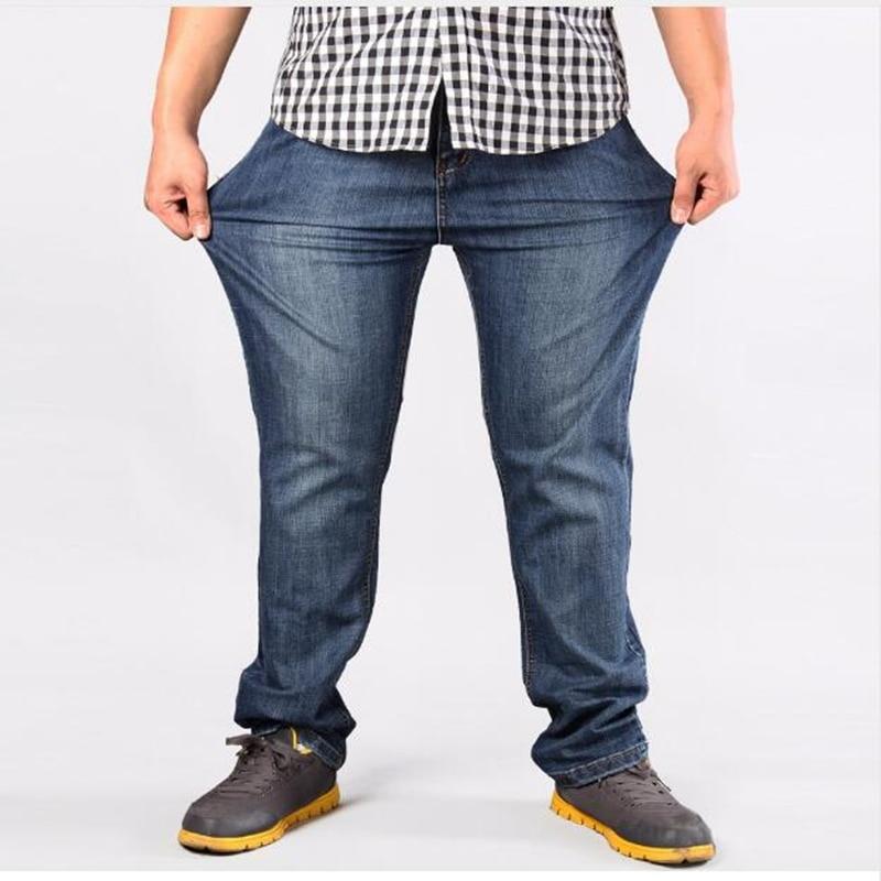 2018 Lose Fit Jeans Herren Marke Stretch Blau Denim Jeans Mode Für Männer Groß Und Hoch Hosen Hosen Größe 44 48 50 52 Zur Verbesserung Der Durchblutung