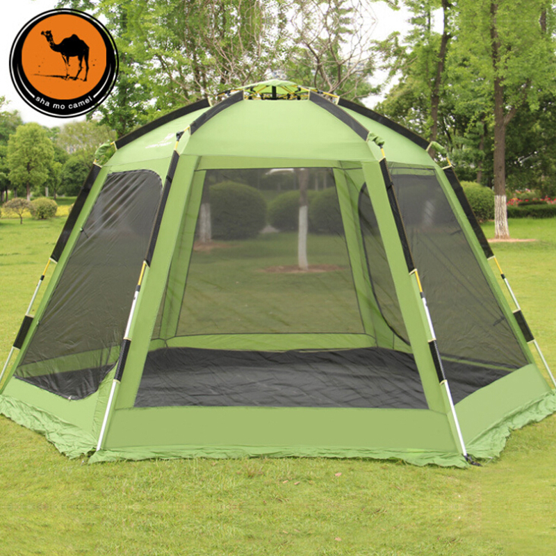 Outdoor automatic tent beach 5-8 yurt internal space large camping tent family party canvas barraca carpas camping tente pergola octagonal outdoor camping tent large space family tent 5 8 persons waterproof awning shelter beach party tent double door tents