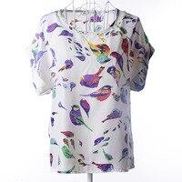 2016 New Summer Women Tops Super Good Texture Back Pleats Plus Size Retro Print Chiffon Shirt