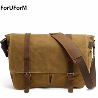 15 Inch Laptop Briefcase Retro Vintage Waterproof Canvas Bag Sports Travel Messenger Bag Man Crossbody