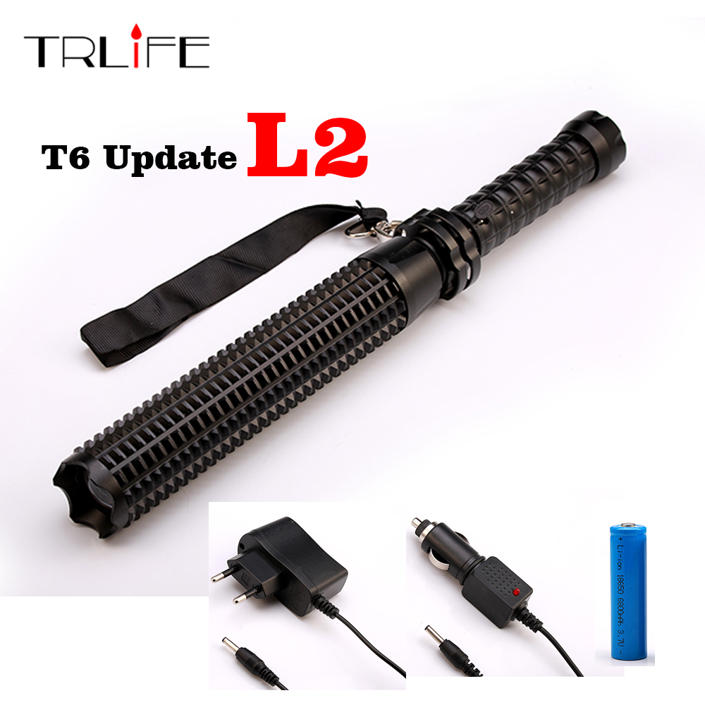 Telescoping CREE XM-L L2 T6 6000 LM LED Torch Tactical Flashlight Baseball Bat Baton Fash Light Self Defense 18650 Lanterna
