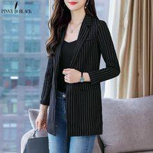 PinkyIsBlack Single Button Women Blazer Spring Pocket Jacket Female Retro Striped Suit Coat Work Feminino Outerwear High Quality недорого