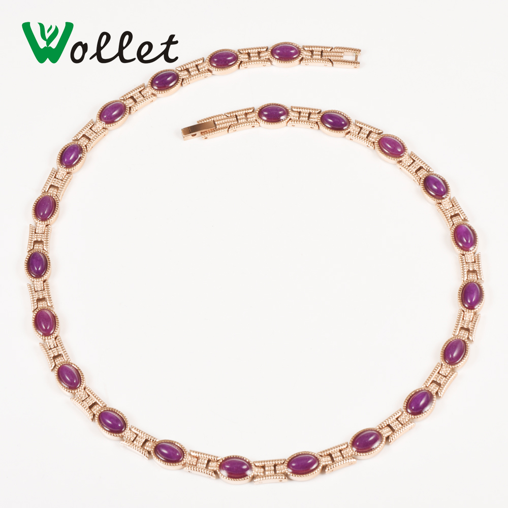 Wollet Jewelry Purple Crystal Rose Gold Color Infrared Anion Germanium Tourmaline Bio Magnetic Stainless Steel Women Necklace