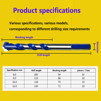 Special Drill for Ceramic Wall, Multi-function Twist Drill, Triangular Drill, One Loaded