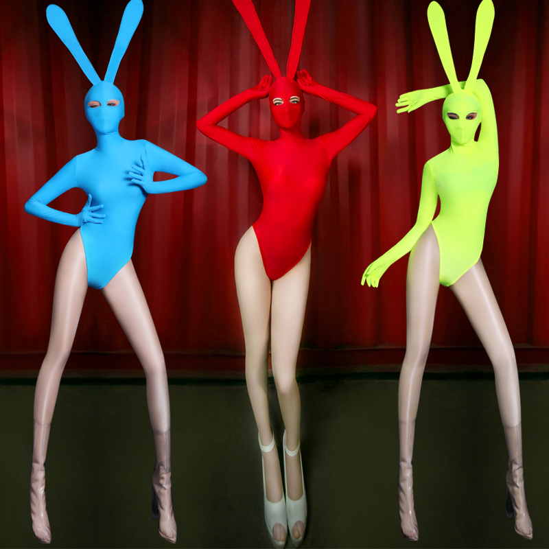 Cosplay DJ Jazz Dance Costumes For Lady Sexy Party Bar Dancers Pub Stage Fluorescence In Females Rabbit Costume BL1089