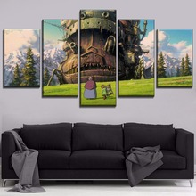 On Canvas Print And The Wall Decor Modular Art Style 5 Panel Howls Moving Castle Cartoon Movie Picture For Children Room