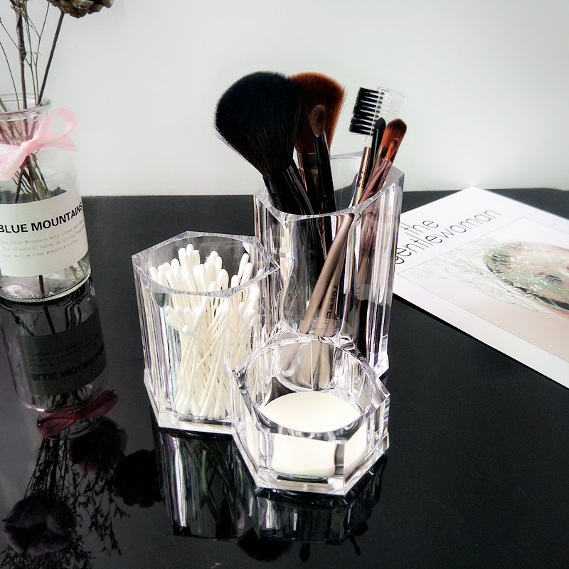 Clear Shaped Cosmetic Lipstick Brush Holder Desktop Storage Box Hot Selling Cosmetic Makeup Organizer Case