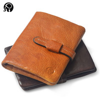 Retro Style Classical Men Wallet Short 100 Genuine Leather Short Wallet Fashion Zipper Brand Purse ID