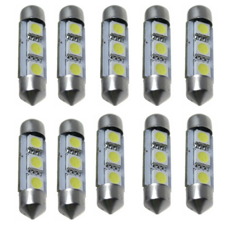 kongyide Healight Bulbs 10 x White 36MM 3 LED 5050 SMD Festoon Dome Car Light Bulb 12V NOV10