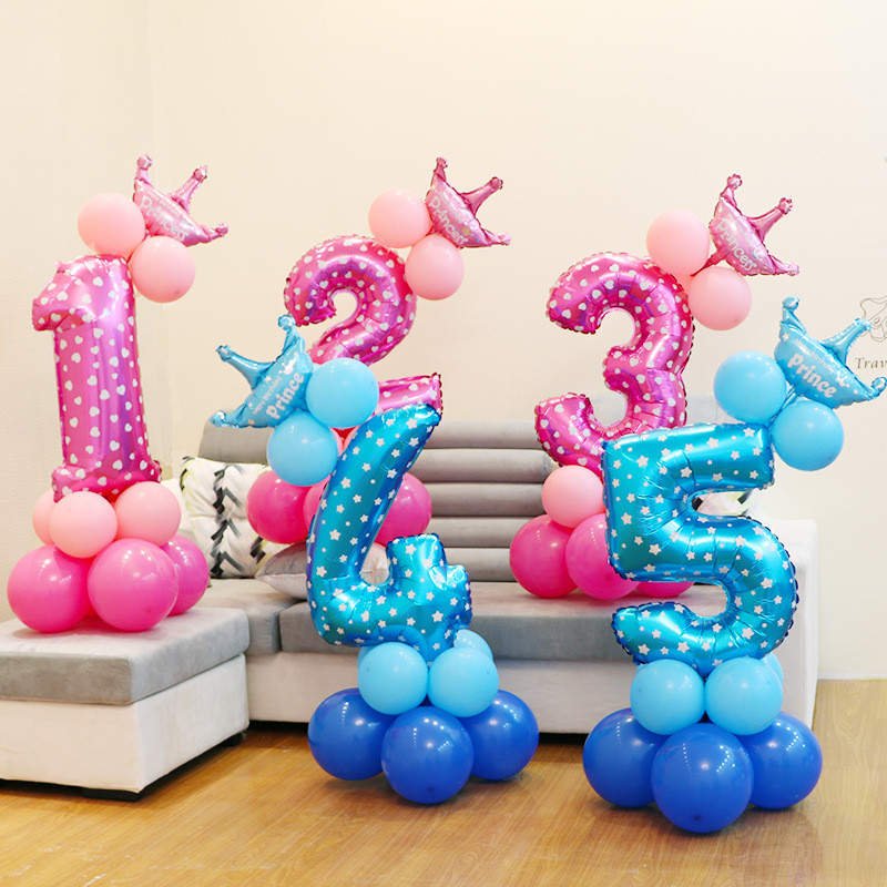 32 quot Inch Age Numbers Foil Balloons Set Digit Helium Baby 1st Birthday Party Shower Decor Helium Ballon Decoration in Ballons amp Accessories from Home amp Garden