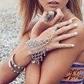 2015 Junho new boho GYPSY artesanais moeda cadeia mão escrava tão sexy handjewelry chain link gargantilha retro jóias étnicas trible