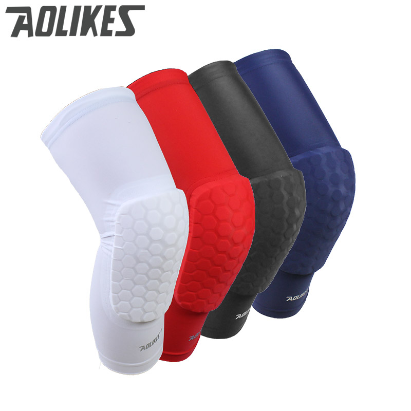 1 pc Honeycomb Sports Safety Tapes volleyball Basketball Kneepad Compression Socks Knee Wraps Brace Protection Knee Pads,Red,M