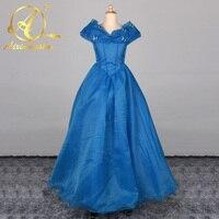 2018 Royal Blue Vestidos de Princess Ball Gown Puffy Flower Girl Dresses Tulle V Neck Cap Sleeve Pageant Dress Communion Dresses