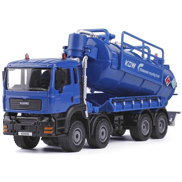 Paduan Air Limbah Transportasi Mengumpulkan Truk Kendaraan Rekayasa Diecast Pompa Kdw 1:50 Simulaion Tangki Sampah Penyimpanan Air Mainan Anak