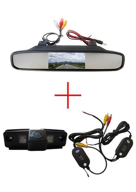 Sem fio CCD Color Chip Car câmara de visão traseira para SUBARU Forester / Outback / Impreza Sedan + 4.3 polegada espelho retrovisor Monitor