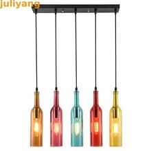 Juliyang loft vintage colorido cristal colgante luces e27 e26 botella de vino lámpara colgante para cocina restaurante café accesorio de la barra