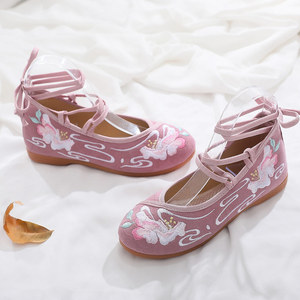 Image 3 - Женские хлопковые балетки Veowalk, Повседневные балетки ручной работы с вышивкой и ремешком на щиколотке, удобные туфли для косплея