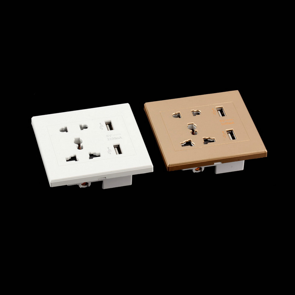 Hot Dual USB Port Electric Wall Charger Dock Socket Power Outlet ...
