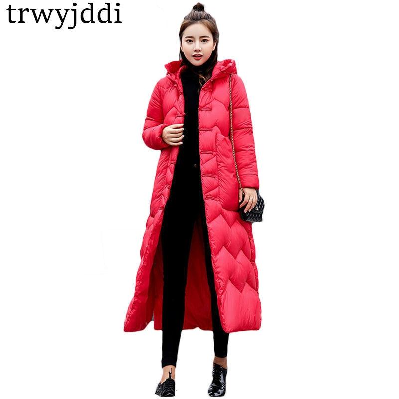 ecfd3fdd8 Moda chaquetas de algodón para mujer sección larga 2018 invierno nuevos  abrigos con capucha ...