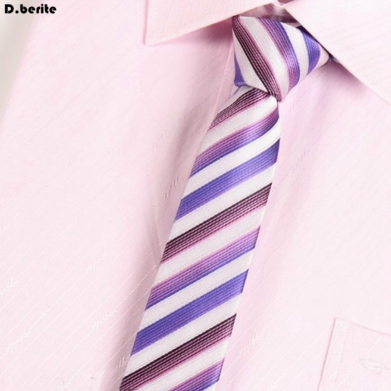 Men White Purple Striped Ties Classical Groom Slim Skinny Neck Tie Business Necktie Unisex Narrow Tie For Wedding Party SK263
