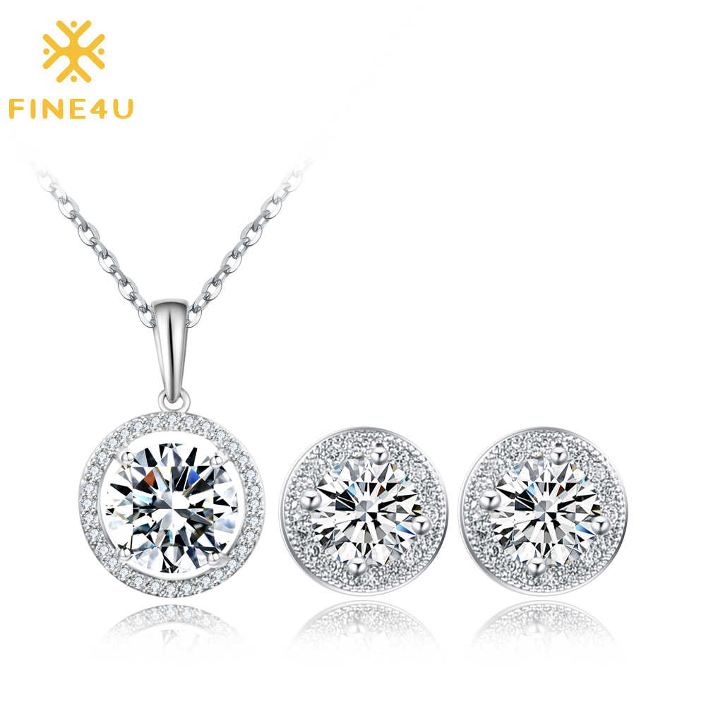 2018 New Fashion FINE4U N024 Round Cubic Zirconia Necklace and Earrings Jewelry Sets For Women Wedding Party Jewelry set