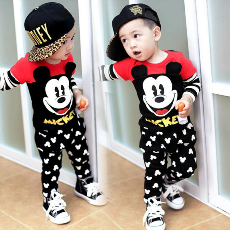 Fashion mickey baby clothing set Girls boys Minnie clothes sets kids cotton Pullover shirts+pants christmas 2pcs Children suits ad children s mickey thick sets 2 10 age cotton sweater pants boys girls christmas t shirts trousers kids clothing clothes