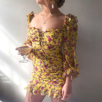 Ruffle Off Shoulder Summer Dress Women Lace Up Yellow Floral Print Spring Long Sleeve Casual Chiffon Mini Dresses Ladies