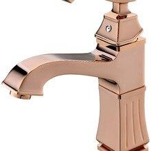 Ванная комната раковина короткий кран одно отверстие на бортике розовое золото цвет смесителя Новые Хрустальные Ручки
