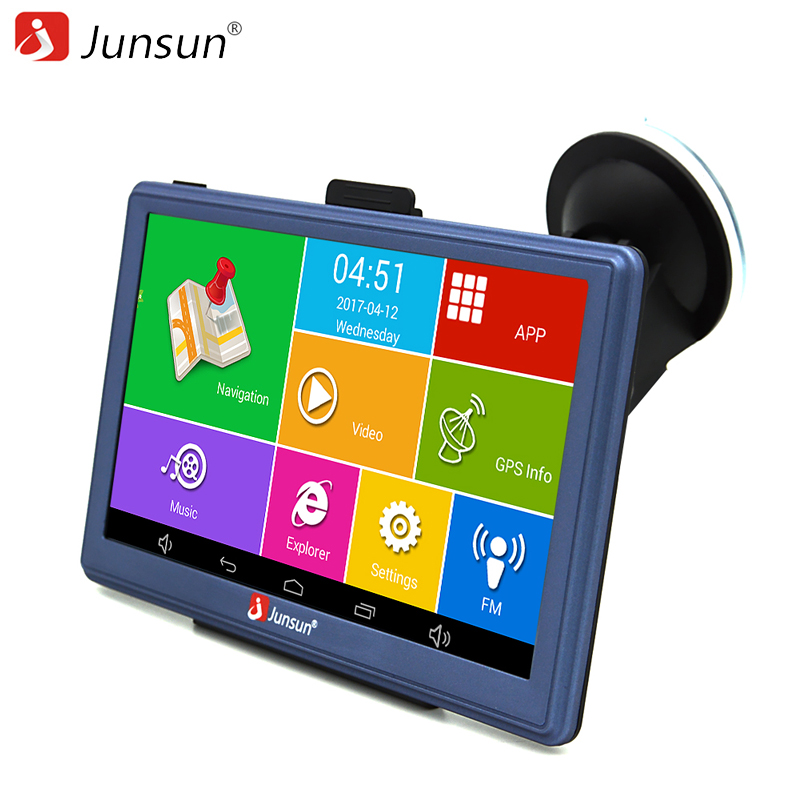 Junsun 7 inch Car GPS Navigation Android Bluetooth WIFI Russia Navitel/Europe map Truck Vehicle GPS Navigator sat nav free map beling g710a car gps navigation with av in 7 in touch screen wince 6 0 8gb vehicle navigator fm sat map mp4 sat nav automobiles