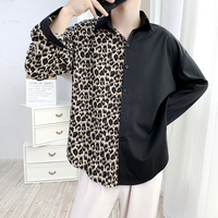 Spring New Leopard Shirt Men Fashion Stitching Casual Dress Shirt Sman Streetwear Wild Hip Hop Loose Long sleeved Shirt M 2XL