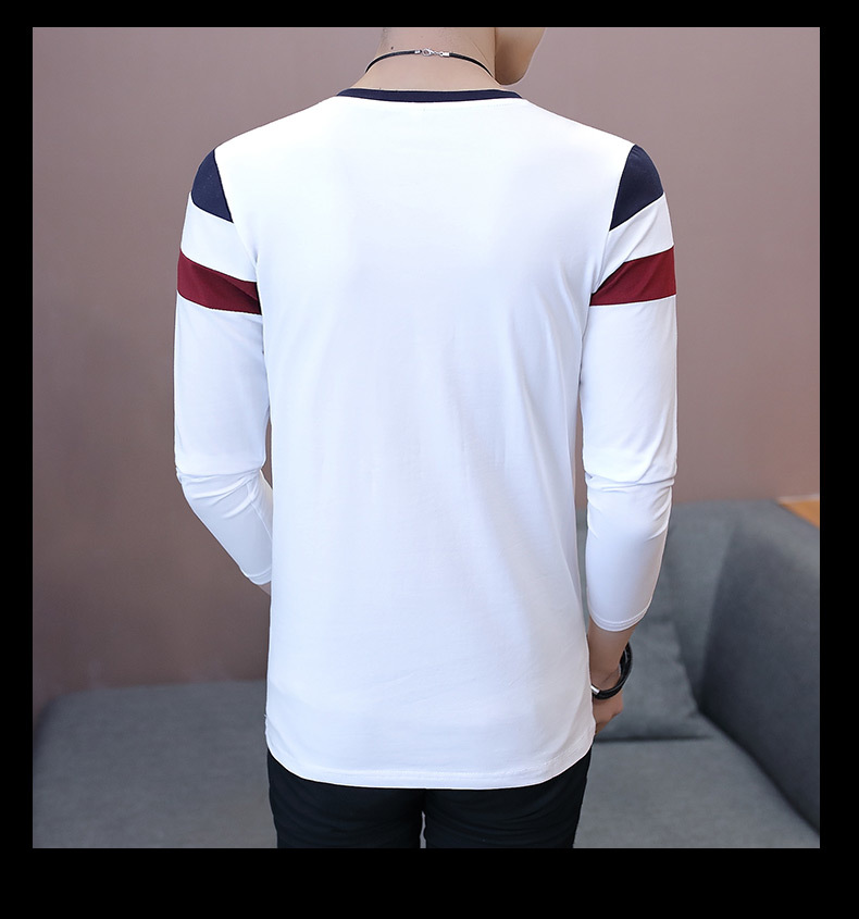 2019 Spring T-Shirt Men Long Sleeve Casual Zipper T Shirts Self-cultivation Design Simple T Shirt Brand New Round Neck Homme 16