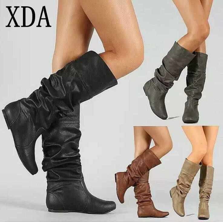 XDA 2019 fashion women boots autumn winter temperament ladies new Round head long boots female boots casual Martin boots