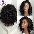 Short Human Hair Lace Wigs Loose Wave With Bangs Brazilian Virgin Full Lace Wigs Wavy With Baby Hair For Black Women