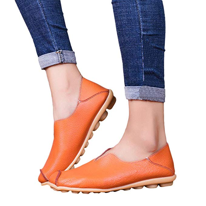 Women Flats Genuine   Leather   Shoes Slip On Ballet Flats Moccasins Loafers Ballerina Shoes Women Fashion Casual Lady Shoe 2019 New