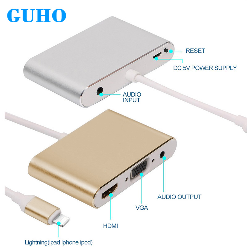 цена на GuHO For Lighting to HDMI VGA AV Adapter Converter Adapter Cable HUB USB 3.0 Multi USB for iPhone iPad Audio Video Adapter Cable