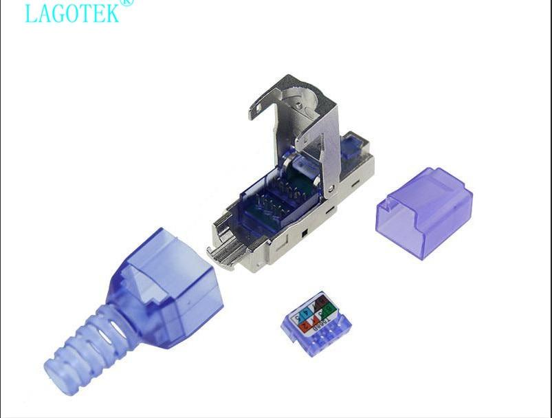Image 5 - 10Pcs/Lot  Tool Free Shielded RJ45 Cat 7 / Cat6A Termination Plug  Cat7 Plug / Cat7 Connector cat6A connectors  Modular 23/24AWGComputer  Cables