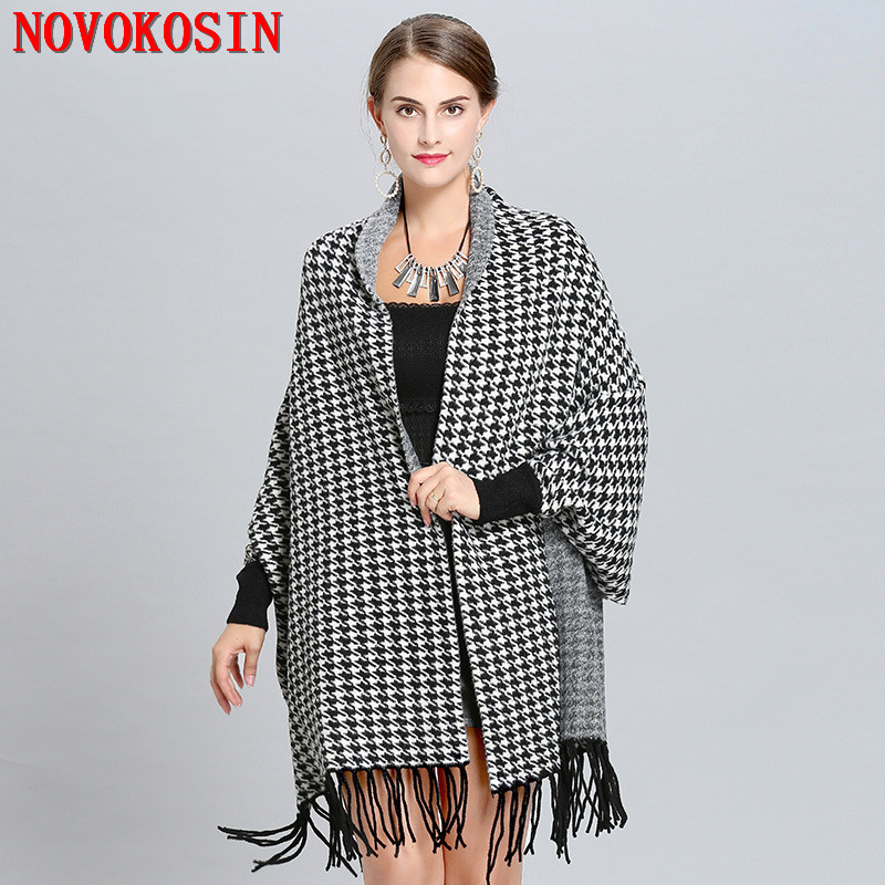 SC245 2018 Lady Knitted Plaid Otter Velvet Cardigans  Thick Poncho Houndstooth Autumn Winter Shawl Casual Wrap Open Stitch Cloak