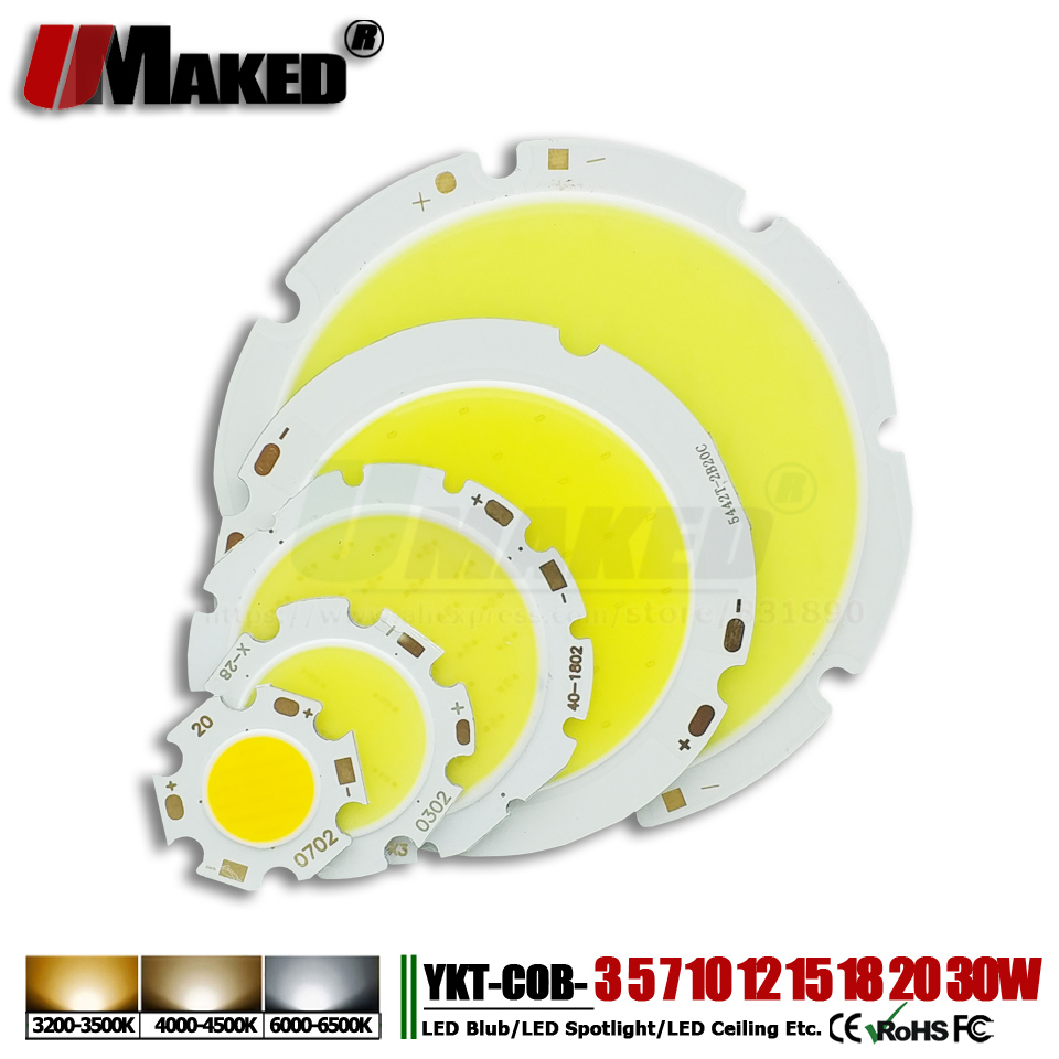 High Power LED Chip 3W 5W 7W 10W 12W 15W 18W 20W 24W 30W 50W integrated SMD COB LED Bead Warm/White Lamps for led bulb spotlight 2x t10 w5w 168 194 canbus no error cree chip led car auto drl replacement clearance light parking bulbs lamps car light source