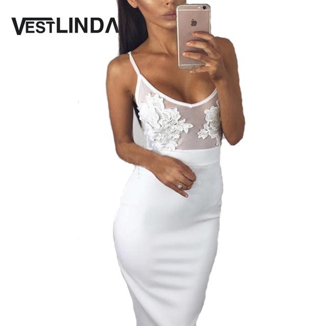 VESTLINDA Spaghetti Strap See-Through Lace Dress Sexy Party Dresses Women 2017 Vestidos Summer Black White Sheath Bodycon Dress
